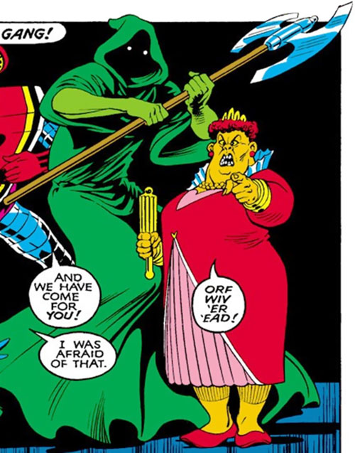 Executioner of the Crazy Gang (Excalibur enemy) (Marvel Comics) with the Red Queen