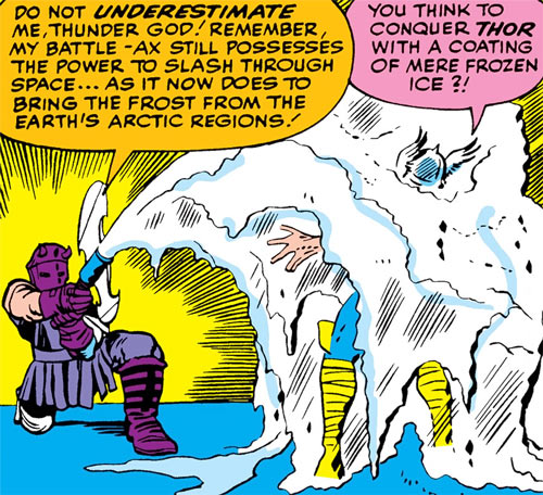 The Executioner (Skurge) encasing Thor in ice