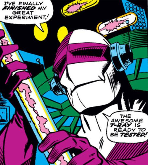 Exterminator (Daredevil enemy) (Marvel Comics) examining a vacuum tube