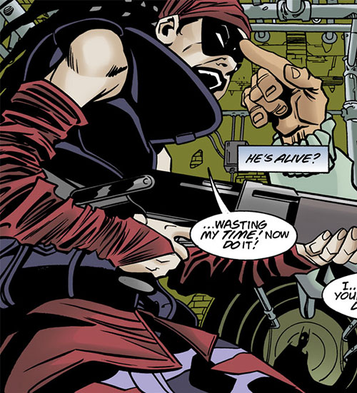 Ezra (Batgirl enemy) (DC Comics) pointing her shotgun