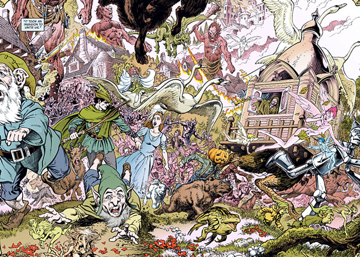 The Fables flee the invasion of Fableland