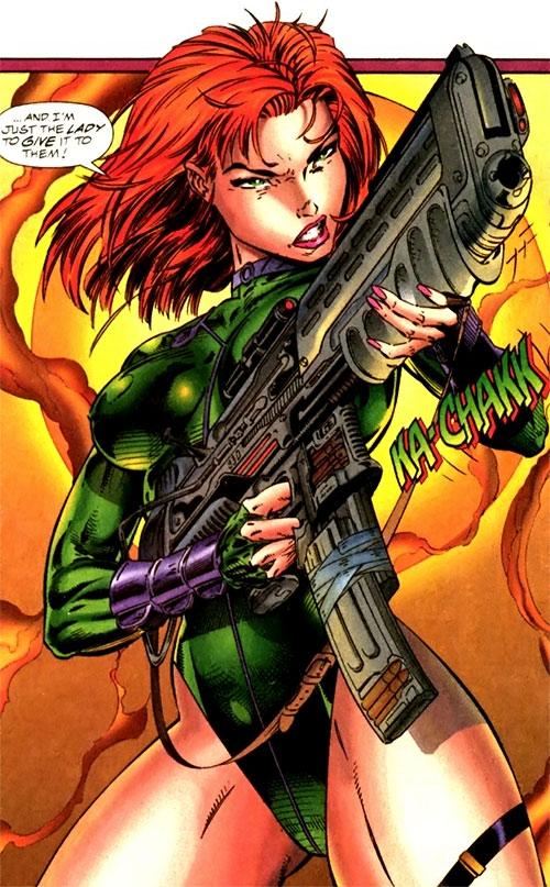 Fairchild (Gen13) (Image Comics) with a gun