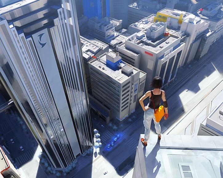 Faith Connors (Mirror's Edge) on a really tall rooftop