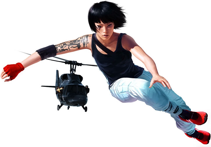 Faith Connors (Mirror's Edge) chased by a police helicopter