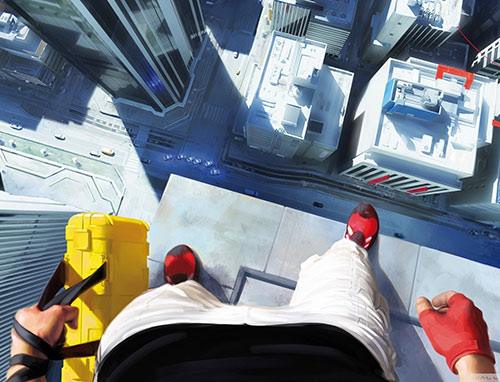 Faith Connors (Mirror's Edge) looking down from a rooftop
