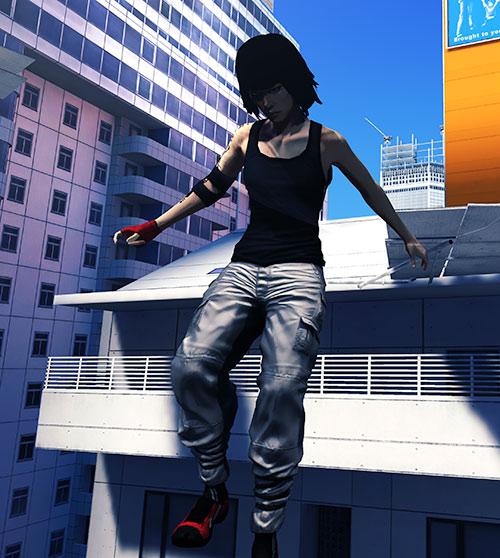 Faith Connors (Mirror's Edge) landing after a jump