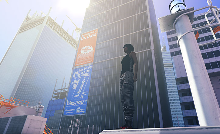 Faith Connors (Mirror's Edge) stands on a rooftop