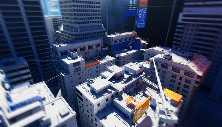 Aerial view of the city in Mirror's Edge