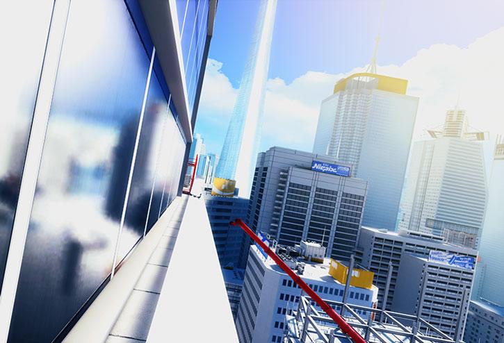 City high ledge view in Mirror's Edge