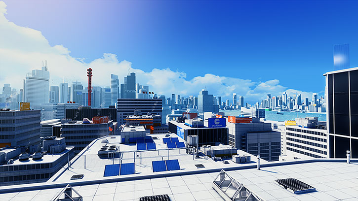 City rooftops view in Mirror's Edge