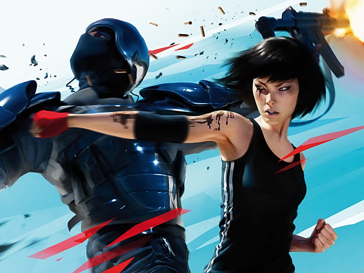 Faith Connors (Mirror's Edge) punches a police officer
