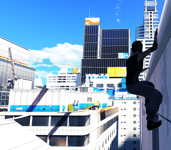 Faith Connors (Mirror's Edge) hanging from a ledge