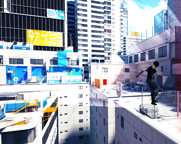 Faith Connors (Mirror's Edge) about to land from a jump between rooftops