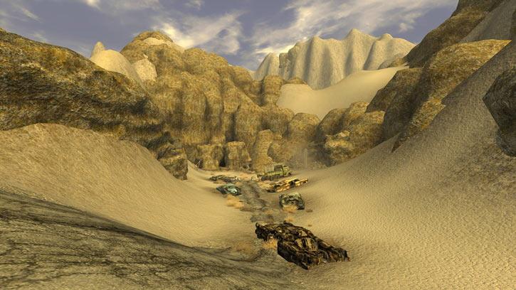 Fallout 1 story mod - car wrecks in a desert valley