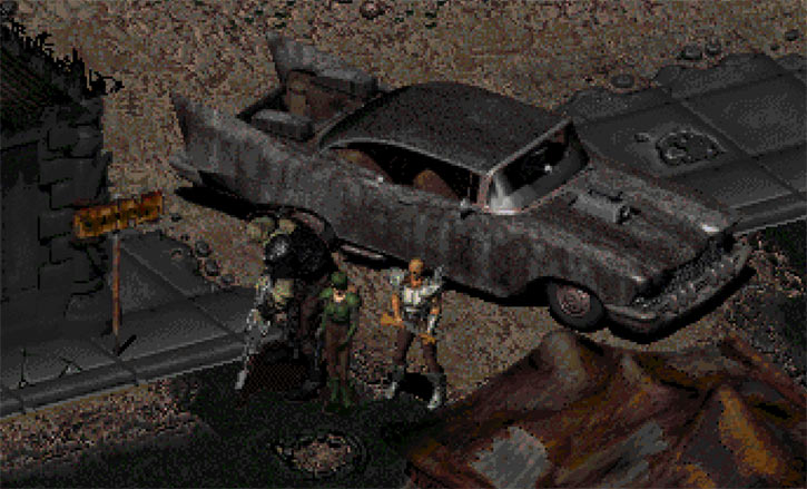 Fallout 2 adventurer team in Redding with car