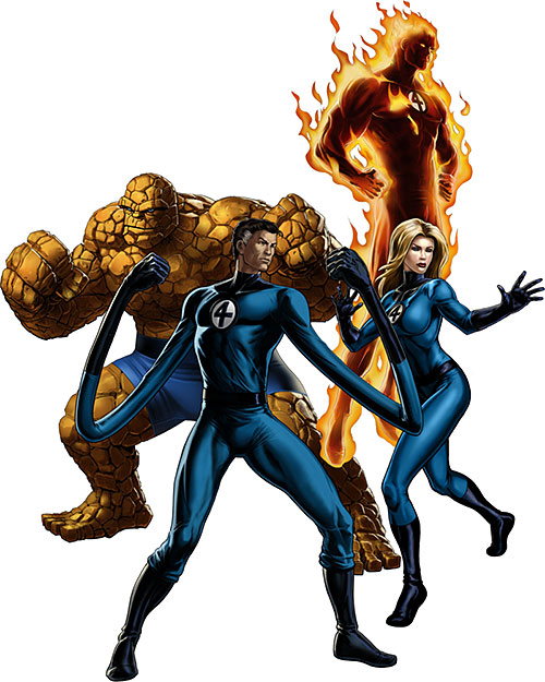 The Fantastic Four on a white background (Marvel Comics)