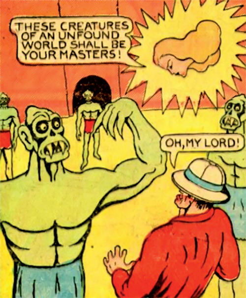 Explorers facing green humanoid monsters and Fantomah