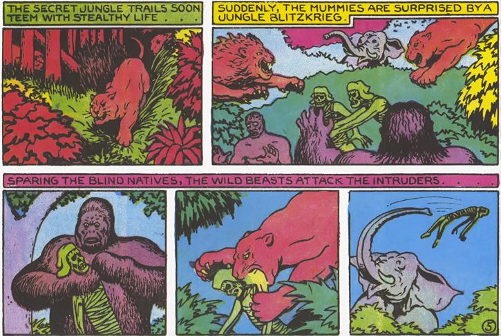 Jungle beasts attack green mummies