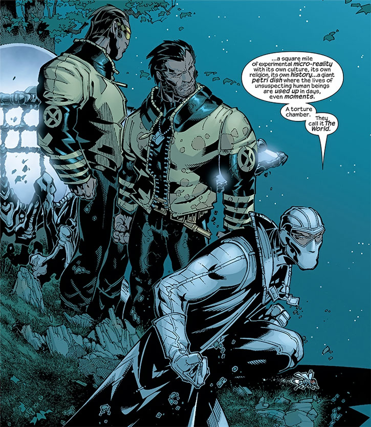Fantomex tells Wolverine and Cyclops about the World