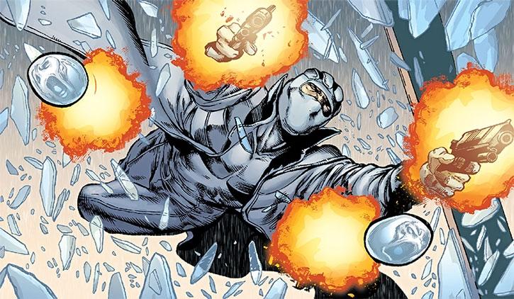 Fantomex bursts through a window, shooting his pistols