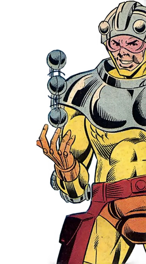 Fastball of the Cadre (JLA enemy) (DC Comics) playing with a projectile
