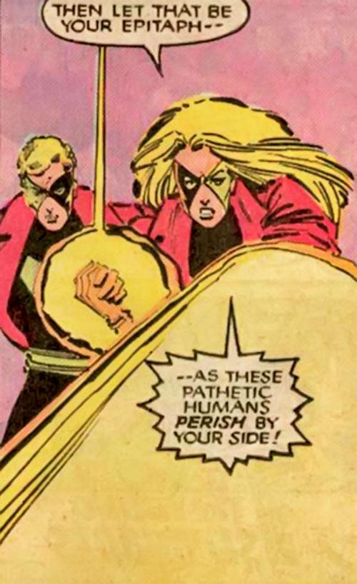 Fenris (Andrea and Andreas Strucker) blasting Magneto