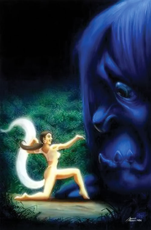 Kapre giant (Filipino legends) next to a girl