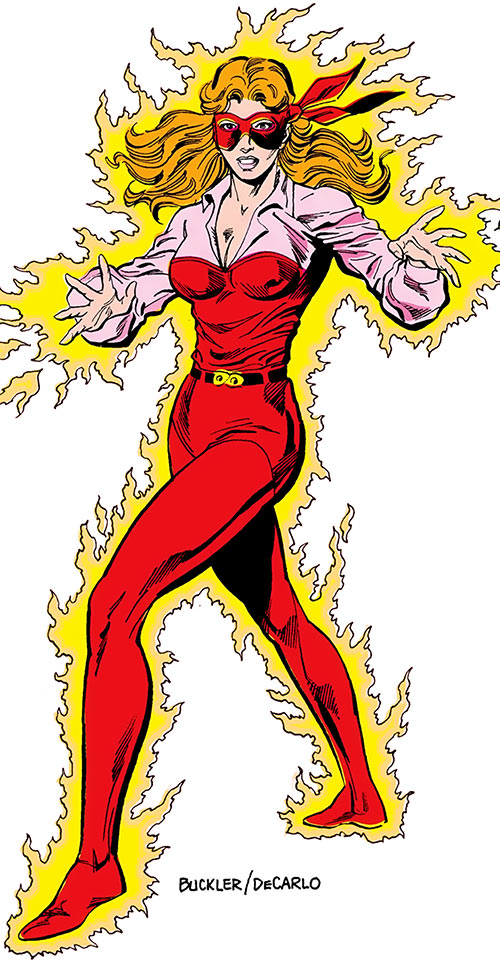 Firebrand (Danette Reilly) aflame over a white background