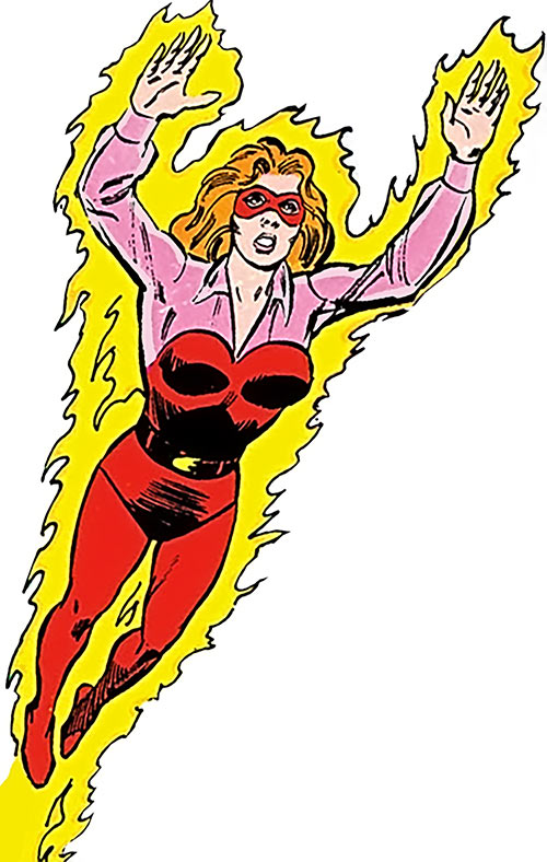 Firebrand (Danette Reilly) in flight over a white background