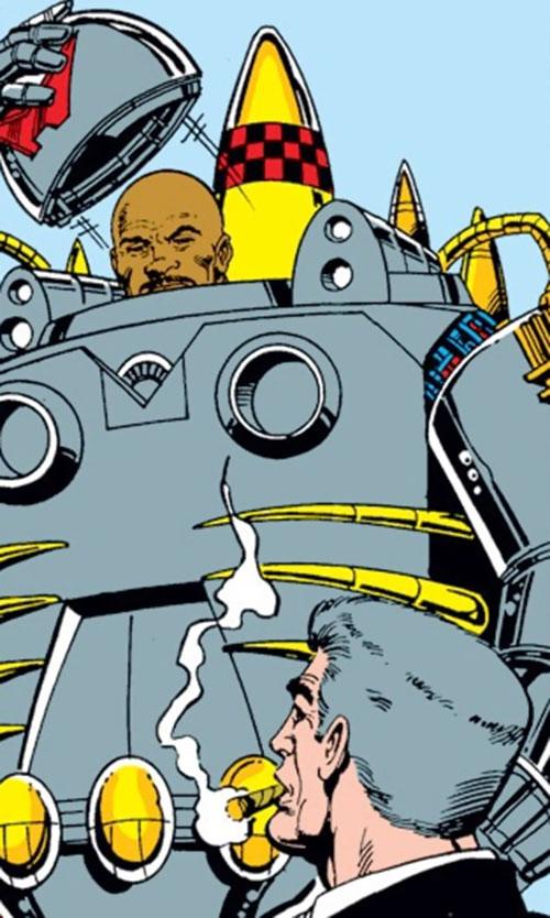 Firepower (Iron Man enemy) (Marvel Comics) taking off his helmet