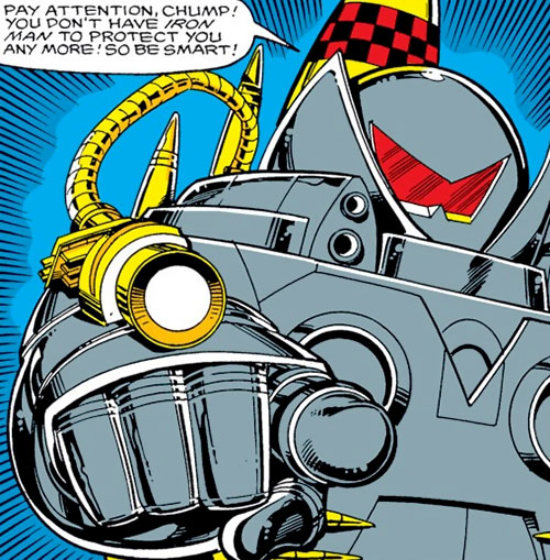 Firepower (Iron Man enemy) (Marvel Comics) pointing an arm cannon