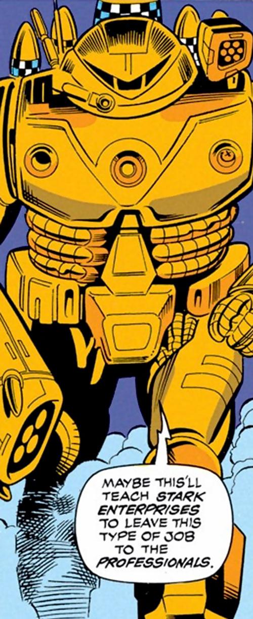 Firepower orange (Iron Man enemy) (Marvel Comics) advancing