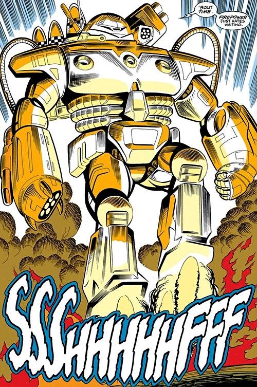Firepower orange (Iron Man enemy) (Marvel Comics) landing