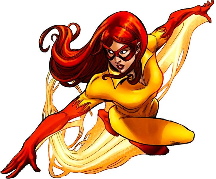 Firestar (Marvel Comics) (Avengers ; New Warriors) flying gracefully