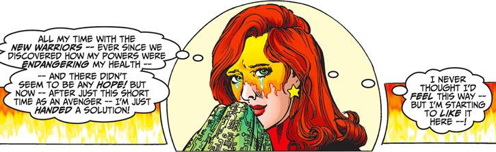Firestar (Marvel Comics) (Avengers ; New Warriors) face closeup crying Pérez