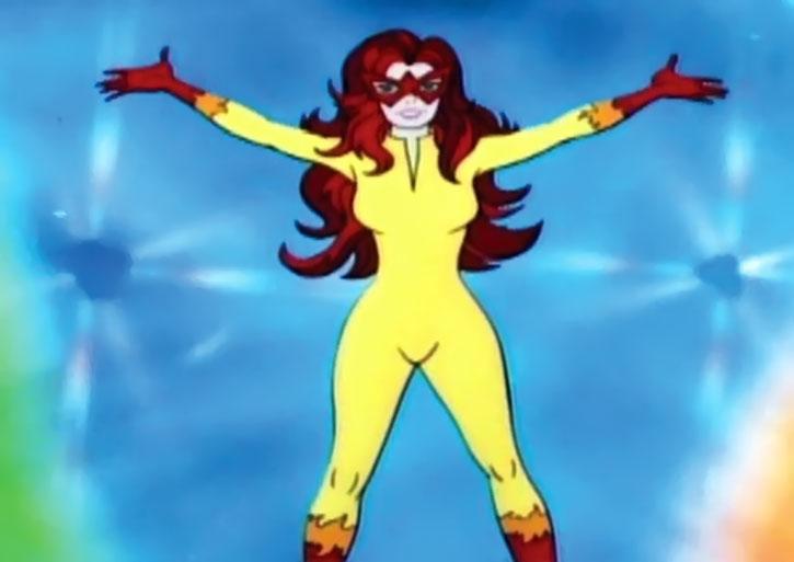 Firestar strikes a disco pose