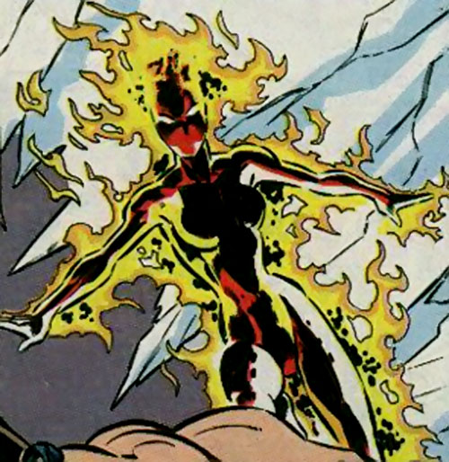 Silk Fever of the Folding Circle (New Warriors enemy) (Marvel Comics) burning