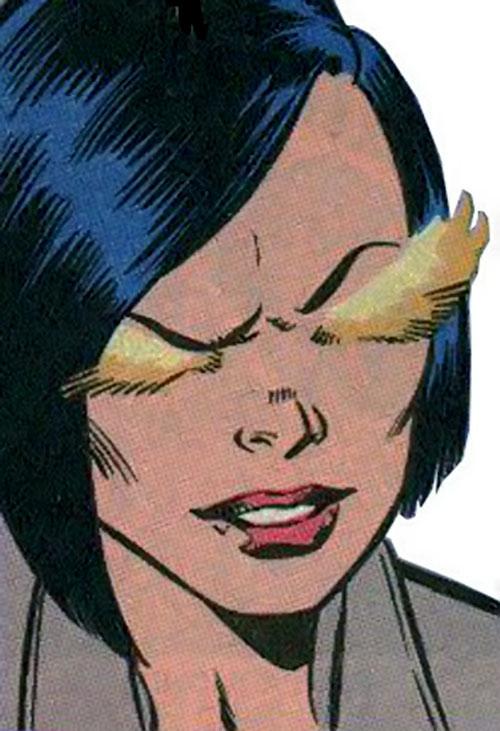 Firewall aka Silk Fever of the Folding Circle (New Warriors enemy) (Marvel Comics) face closeup