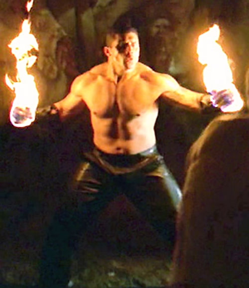 Flame demon (Tanoai Reed in Buffy the Vampire Slayer) with burning fists