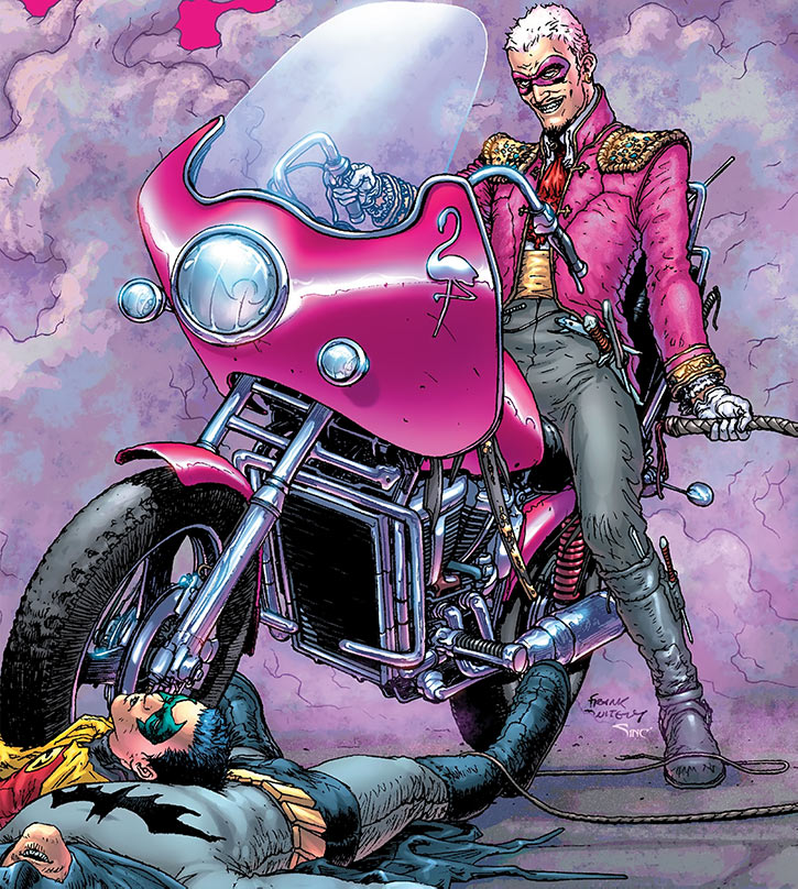 Flamingo rides in on his motorbike
