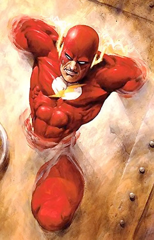 Flash (Wally West) (DC Comics) vibrating through a steel wall