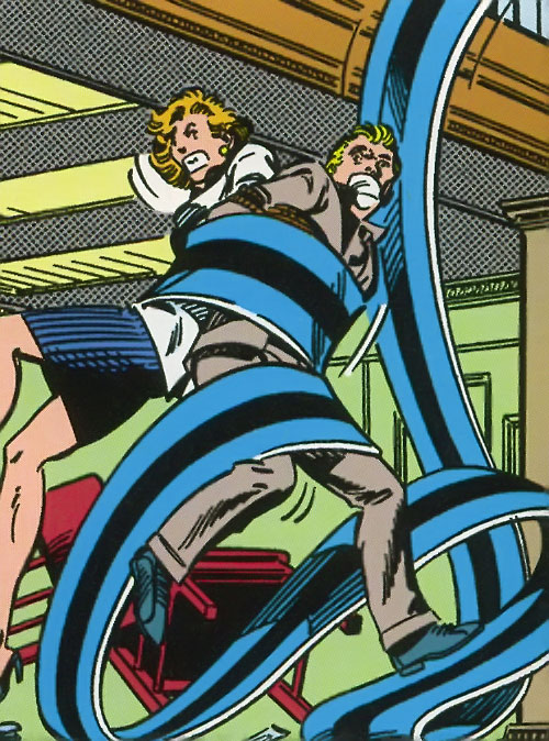 Flatman of the Great Lakes Avengers (Marvel Comics) rescuing hostages