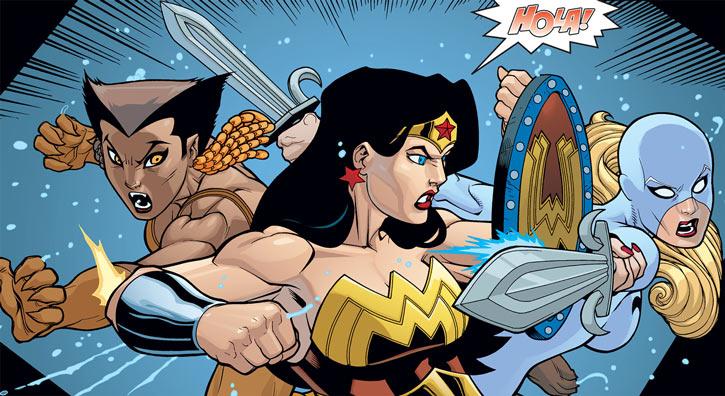 Wonder Woman fighting Fleur de Lis and Vixen in JLA Classified comics.