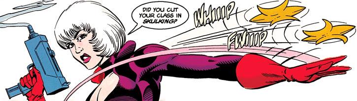 Fleur-de-Lys (DC Comics) throwing themed shuriken in Deathstroke the Terminator