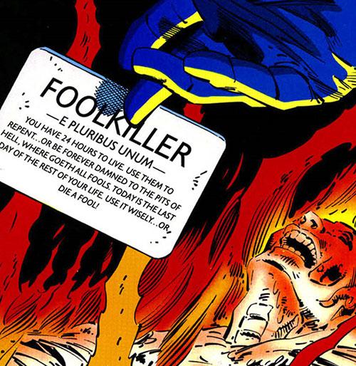 Foolkiller (Kurt Gerhardt) (Marvel Comics)'s calling card