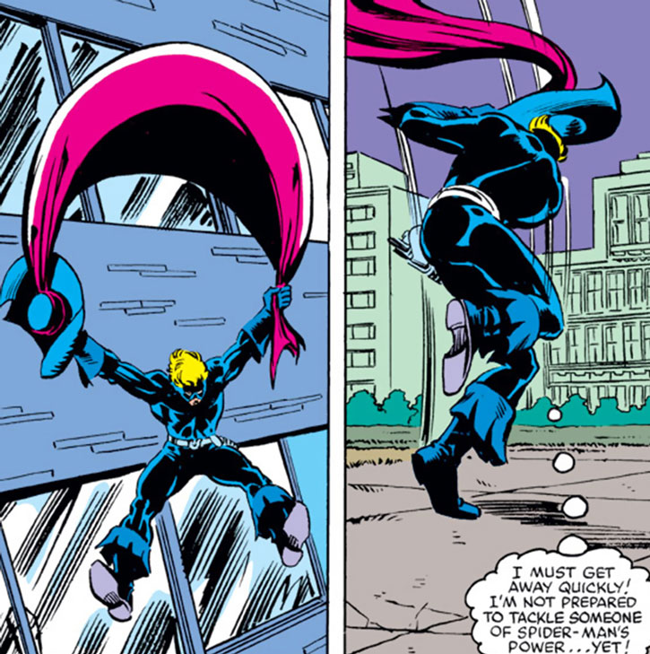 Foolkiller (Greg Salinger) using his scarf as a parachute