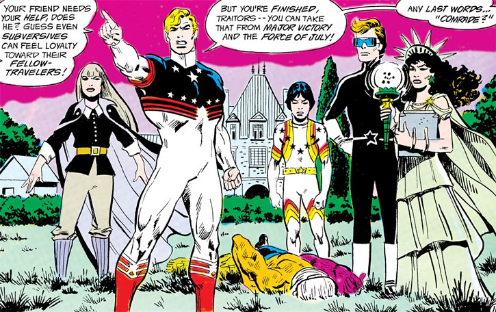 Force of July (DC Comics) (Outsiders enemies) around a defeated Metamorpho