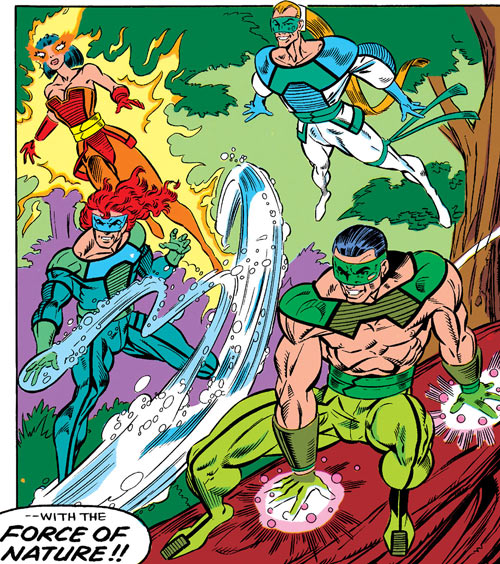 Forces of Nature - Marvel Comics - New Warriors enemy - Firewall, Aqueduct, Terraformer, Aero