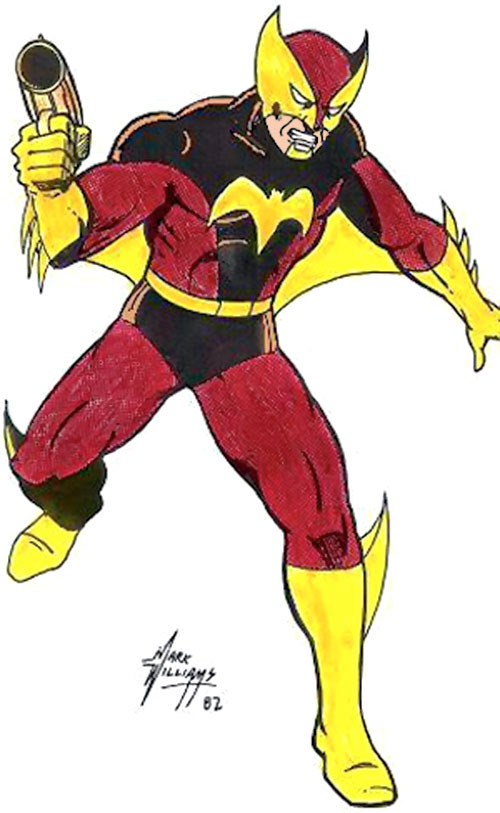 Foxbat in a red and black costume