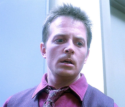 Frank Bannister (Michael J Fox in The Frighteners) low angle face closeup